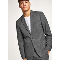 Mens Mid Grey Charcoal Tonal Check Skinny Suit Jacket, Mid Grey