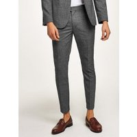 Mens Mid Grey Charcoal Tonal Check Skinny Suit Trousers, Mid Grey