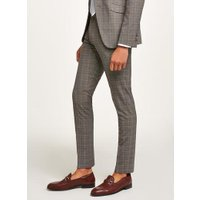 Mens Charcoal With Orange Check Super Skinny Suit Trousers, Orange