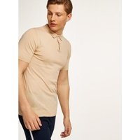Mens Stone Short Sleeve Knitted Polo, Stone