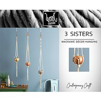 Wool Couture 3 Sisters Macrame Plant Hanger Kit, Cream