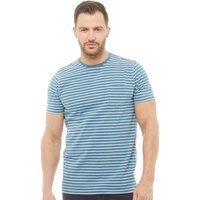 Onfire Mens Indigo Yarn Dyed Striped T-Shirt Indigo/White
