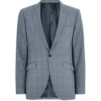 Mens Blue Tonal Check Skinny Suit Jacket, Blue