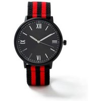 Mens Red Black Fabric Watch*, Red