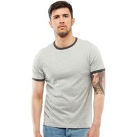 Brave Soul Mens Tallon Contrast T-Shirt Light Grey Marl/Dark Charcoal Marl