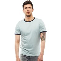 Brave Soul Mens Tallon Crew Neck Contrast T-Shirt Dusty Green/Ocean