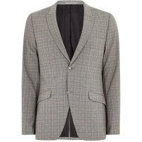 Mens Charcoal With Orange Check Ultra Skinny Suit Jacket, Orange