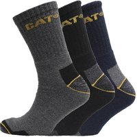 Caterpillar Mens Workwear Three Pack Crew Socks Charcoal/Black/Navy