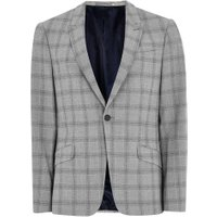Mens Black And White Check Neppy Muscle Fit Suit Jacket, Black