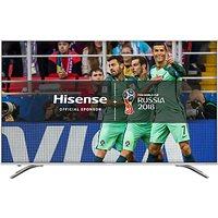 Hisense 50A6500 LED HDR 4K Ultra HD Smart TV, 50 with Freeview Play, Black/Silver