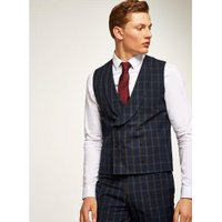 Mens Blue Navy And Brown Check Muscle Fit Waistcoat, Blue