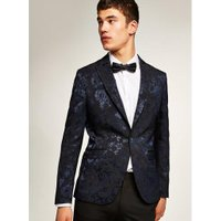 Mens Navy And Black Baroque Skinny Suit Jacket, Navy