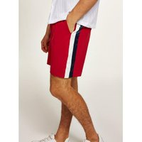 Mens Red Satin Side Stripe Shorts, Red