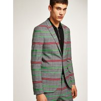 Mens Multi Grey With Green And Red Check Skinny Suit Jacket, Multi