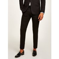 Mens Black Skinny Satin Side Stripe Tuxedo Trousers, Black