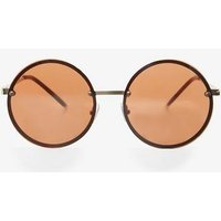 Womens Gold Overlay Round Sunglasses- Gold, Gold