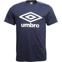 Umbro Mens Beach Taped T-Shirt Dark Navy/White