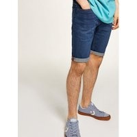 Mens Bright Blue Wash Stretch Skinny Shorts, Blue