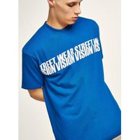 Mens VISION STREET WEAR Blue Repeated Logo T-Shirt, Blue