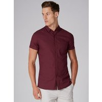 Mens Red Burgundy Stretch Skinny Shirt, Red
