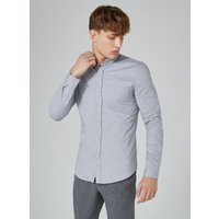 Mens Grey Stretch Skinny Oxford Shirt, Grey