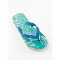 John Lewis & Partners Tropical Palm Leaf Flip Flops, Multi