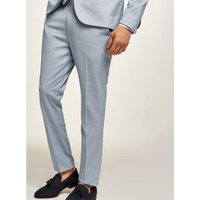 Mens Light Blue Textured Skinny Suit Trousers, Blue