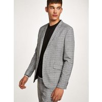Mens Black And White Check Skinny Blazer, Black