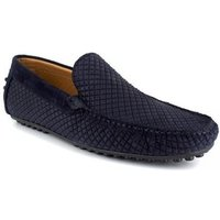 J.bradford  Loafer  Navy Blue Leather JB-CLIPPER  men's Loafers / Casual Shoes in multicolour