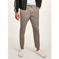 Mens Grey Tencel Smart Joggers With White Side Piping, Grey