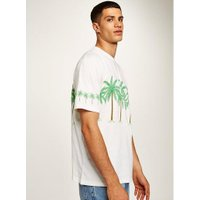 Mens Cream Ecru Palm Trees Oversized T-Shirt, Cream