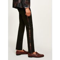 Mens Metallic Red And Gold Jacquard Skinny Suit Trousers, Metallic