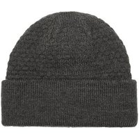 Mens Grey Charcoal Cable Knit Beanie, Grey