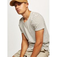 Mens SELECTED HOMME Green Stripe T-Shirt, Green