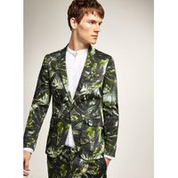 Mens Green Palm Print Super Skinny Suit Jacket, Green
