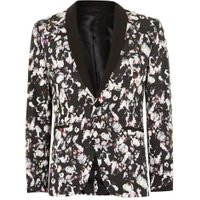 Mens Multi Flower Print Ultra Skinny Suit Jacket, Multi