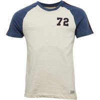 Brave Soul Mens Fox Raglan T-Shirt Ecru/Denim Marl/Wine
