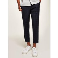 Mens Navy Grid Check Slim Crop Smart Trousers, Navy