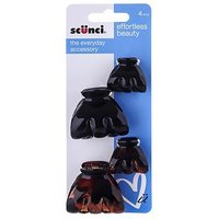 Scunci Style jaws black tort 4 pack