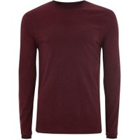 Mens Red Burgundy Tipped Ringer T-Shirt, Red