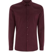 Mens Red Burgundy Muscle Fit Long Sleeve Shirt, Red