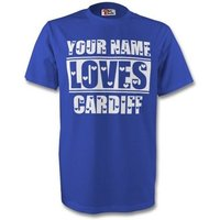 Gildan  Your Name Loves Cardiff T-shirt  men's T shirt in Blue