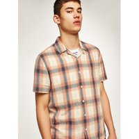 Mens Pink And White Check Revere Shirt, Pink