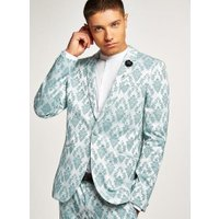 Mens Green Mint Jacquard Ultra Skinny Suit Jacket, Green