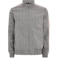 Mens Mid Grey Dark Grey Checked Side Stripe Harrington Jacket, Mid Grey