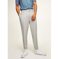 Mens Mid Grey Grey Pinstripe Tapered Smart Trousers, Mid Grey