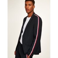 Mens Navy Textured Skinny Suit Jacket With Side Taping, Navy