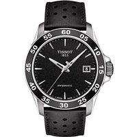 Tissot T1064071605100 Men's V8 Automatic Date Leather Strap Watch, Black