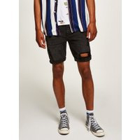 Mens Black Ripped Denim Shorts, Black