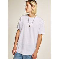 Mens White Zip Hem T-Shirt, White